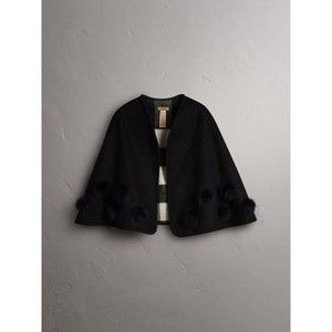 Burberry Fur Pom-pom Detail Cashmere Wool Cape